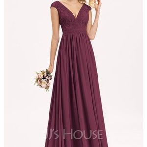 A-Line V-neck Floor-Length Chiffon Lace For
